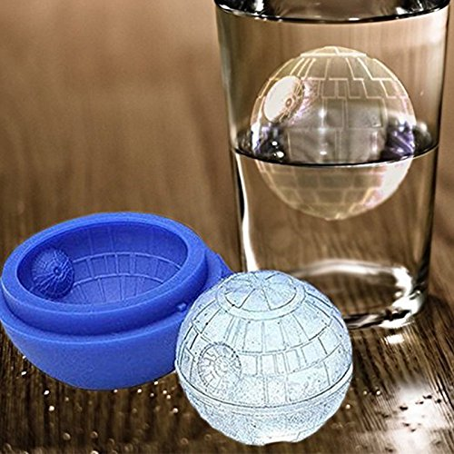 Zehui DIY Desert Cocktail Sphere Mould Silicone Wars Death Star Round Ball Ice Cube Mold Tray Blue