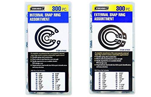 Internal And External Snap Ring Retaining Ring Assortment Kit 600 Pc.300 + 300