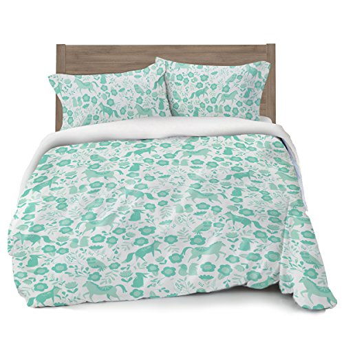 Seafoam Green Folktale Forest Animals Duvet Cover Full/Queen Bedding, White with Teal Woodland Creatures