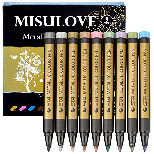 Metallic Markers Pens, Paint Marker Pens, Permanent Markers for Fabric, Rocks Painting Scrapbooking Wine Glass Art Projects Card Making Supplies, Set of 9 Colors(Medium Point)