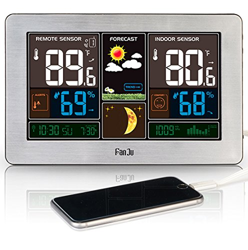 FanJu FJ3378 Color Weather Station with USB Charger/Indoor Outdoor Temperature and Humidity/Moon Phase/Weather Monitor Clock with Outdoor Sensor