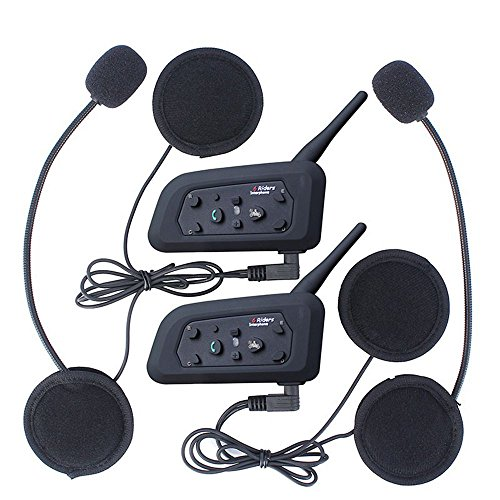 Amazingbuy - 2 Sets V6 BT Intercom Bluetooth Interphone 1200M Range 6 Riders Motorcycle Helmet - Motorcycle Snowmobile Bluetooth Multi Interphone Headsets 6 Riders. Great for Skiing