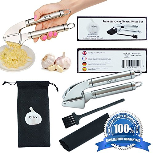 """SPECIAL OFFER! 100% First Class Stainless Steel Ergonomic Garlic Mincer Press Set By """"iSpice"""" With Silicone Roll Peeler Cleaning Brush """"Say Hello To The New Chef In You"""""""
