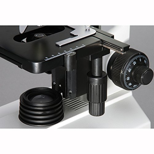 AmScope T390B Professional Compound Trinocular Microscope, 40X-2000X Magnification, WF10x and WF20x Eyepieces, Brightfield, Halogen Illumination, Abbe Condenser, Double-Layer Mechanical Stage, 110V-220V Auto-Switching