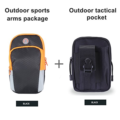 Chinatmax Sport Armband Bag+Tactical Pouches Waist Pack, Water Resistance Utility Gadget Pockets Cell Phone Holder Bag for Hiking, Camping, Running for Men, Women (Black++Black)