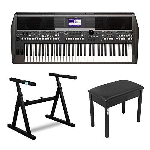 Yamaha PSRS670 61-Key Keyboard Production Station w/Keyboard Stand & Bench