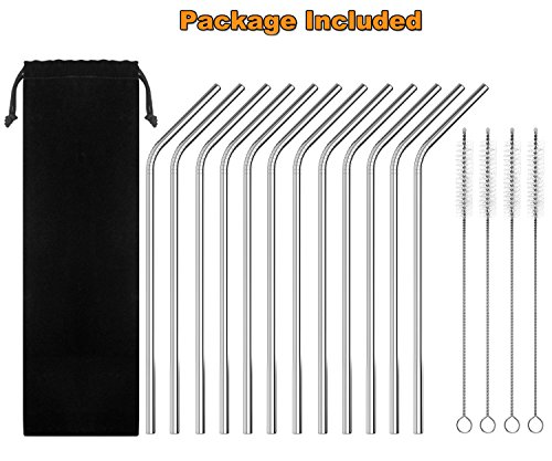 """Auvanteo 12-Pack Extra Long 10.5"""" Reusable Stainless Steel Drinking Straws with 4 Cleaning Brushes and Carry Bag Fits all 20 30oz Cups Yeti Ozark Trail Rtic Tumblers Cold Beverage (12 Bent)"""