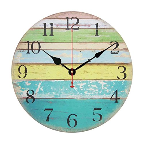Wood Wall Clock, PeleusTech 14 Inch Vintage Rustic Country Tuscan Style Silent Wooden Wall Clock Home Decor - Ocean Stripe A