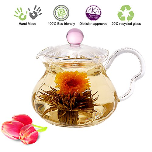 Blooming Tea Glass Teapot with Infuser Pink Fairy, 20oz/590ml Non-Drip Lead Free Glass