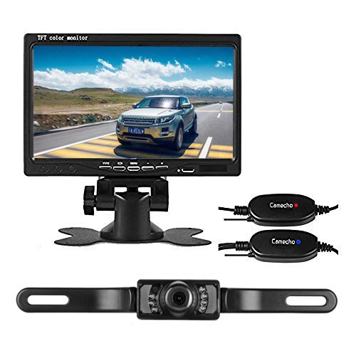 Camecho RC 12V 24V Wireless Car Backup Camera License Plate IR Night Vision Waterproof Rear View Camera + 7