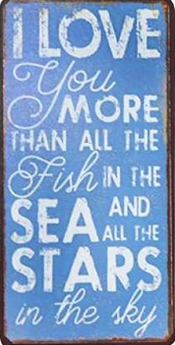 1art1 Love Magnetic Tin Sign, Vintage Style Magnet - I Love You More Than All The Fish in The Sea and The Stars in The Sky (4 x 2 inches)
