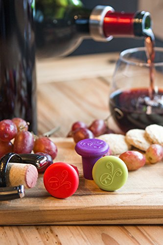 Outset B229 Silicone Wine Bottle Stoppers, Set of 4, Assorted