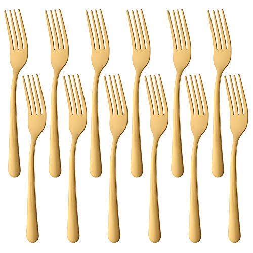 7-Inch Dinner Forks Stainless Steel Dessert Fork, BUY&USE Gold Cutlery Pack of 12