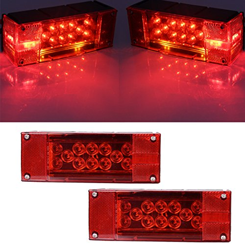 CZC AUTO 2PCS 12V LED Submersible Low Profile Rectangular Trailer Lights, Tail Stop Turn Running Lights Kit, Sealed for Boat Trailer Truck Marine