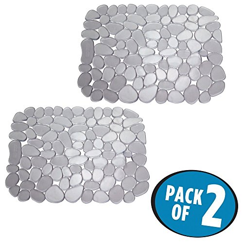 "mDesign Adjustable Kitchen Sink Dish Drying Mat/Grid - Soft Plastic Sink Protector Cushions Sinks, Stemware, Glasses, Dishes - Quick Draining Pebble Design - Small, 12.4"" Long - 2 Pack - Graphite Gray"