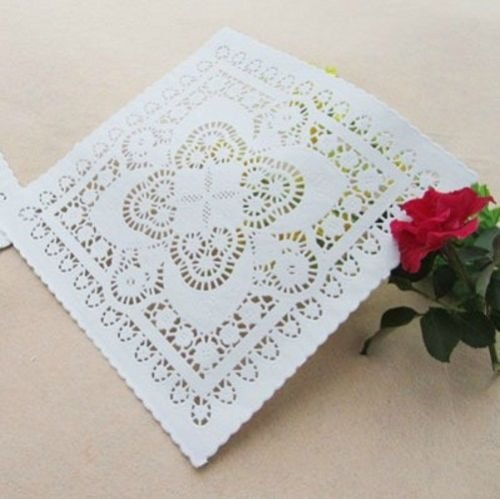 50 PCs White Square Paper Lace Doilies Craft & Wedding Decoration Craft Doily Pad (8 inch)