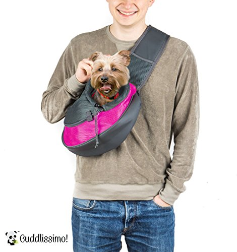 Pet Sling Carrier for Cats Dogs (Pink)