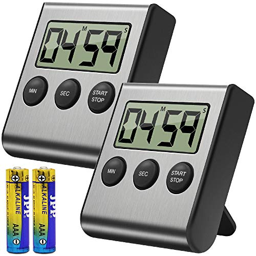 Costech Digital Kitchen Timer 2 Pack, Stainless Steel Shell; Large Digits Display; Loud Alarm; Strong Magnetic Backing Stand (Battery Included) for Kitchen Office Sports Games (K-1001)