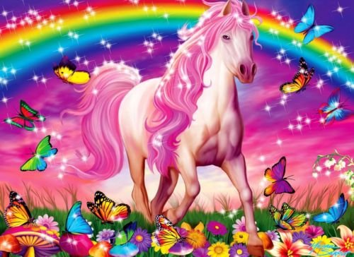 CAKEUSA Rainbow UNICORN Butterflies Flowers Birthday Cake Topper Edible Image 1/4 Sheet Frosting