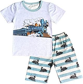 Image of Cotton Train Shorts Pajama Set for Boys - See More Designs