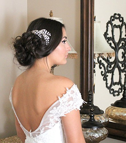 Wedding headpiece, Lily of the Valley Hair comb, Crystal hair comb, Wedding hair accessory