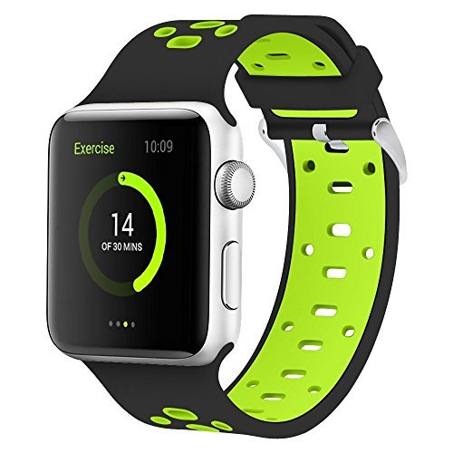 Silicone Apple Watch Band 42mm Sport Fan Wristband Soft Breathable Wrist Bracelet for Apple Watch Series 3 Series 2 Series 1 Sport Edition Replacement Strap 42mm Black/Green