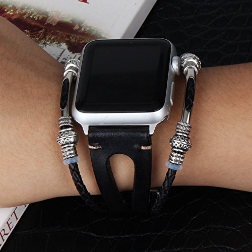"""somoder Leather Bands Replacement for Apple Watch Band Series 4 40mm, Series 3/2/1 38mm, Handmade Vintage Fashion Alloy Leather Bracelet for Iwatch, Adjustable Size 5.5"""" - 8.5"""""""