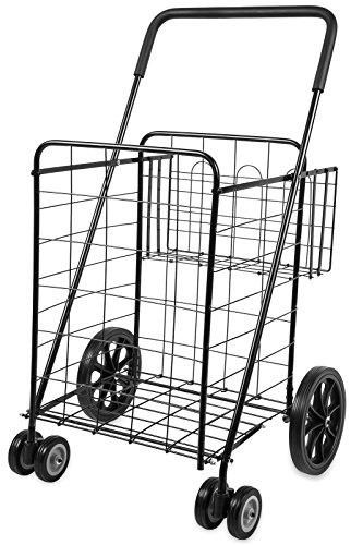 Folding Shopping Cart with Double Basket- Jumbo Size 150 lb Capacity Black, Grocery Shopping Made Easy w/Spinning Wheels