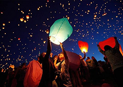 Maikerry Flying Paper Lanterns Sky Lanterns Chinese Wish Lanterns for Birthday Wedding Party Chinese Lanterns Assorted Colors100% Biodegradable Environmentally Friendly!(10pcs)