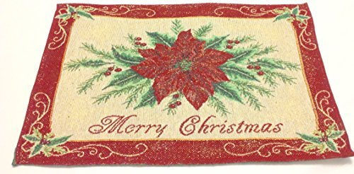 Tapestry Christmas Flower Placemats - Set of 4 Red Poinsettia Flower w/Gold Metallic Thread
