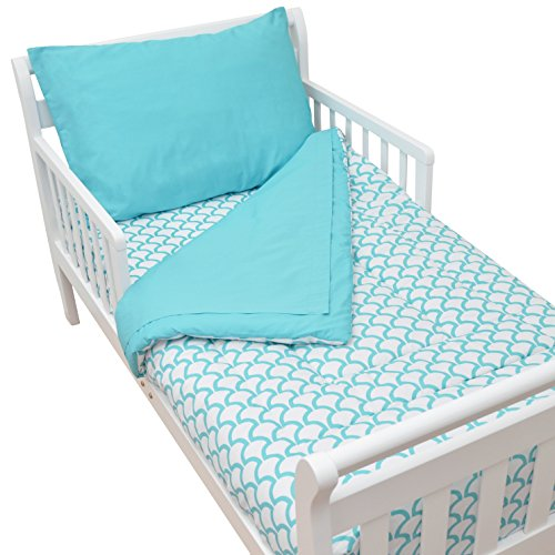 American Baby Company 100% Cotton Percale 4-piece Toddler Bedding Set, Aqua Sea Wave, for Boys and Girls