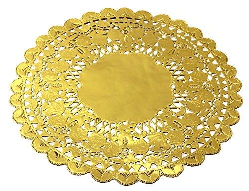 LOVMUTD Round Gold Foil Metallic Paper Doilies Royal Lace Foil Paper Doily 12 Inch Diameter (24 PCS)