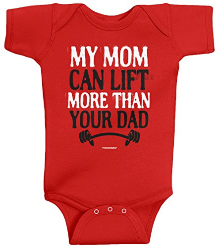 Threadrock Unisex Baby My Mom Can Lift More Than Your Dad Bodysuit 6M Red