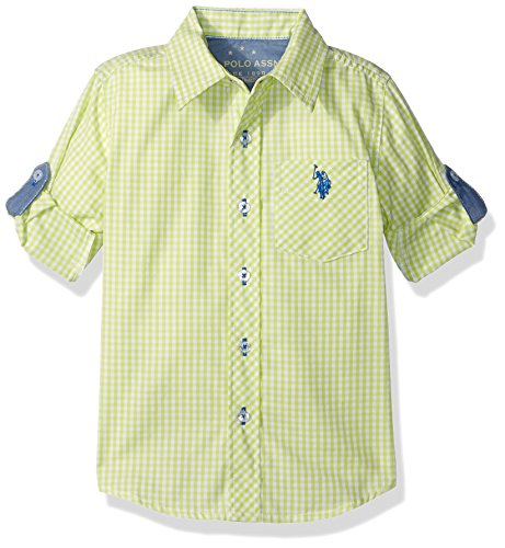 U.S. Polo Assn. Boys' Big Boys' Long Sleeve Single Pocket Sport Shirt, Soft Green Madras, 10/12