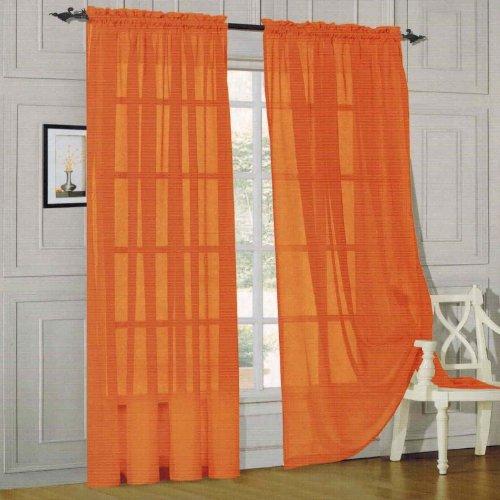 Elegant Comfort 2 Piece Solid Sheer Panel with Rod Pocket - Window Curtain 60-inch Width X 84-inch Length - Orange