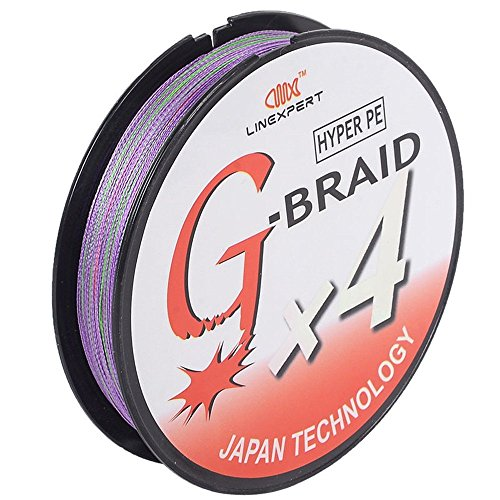 LINEXPERT G-BRAID Super Strong 100% Pe Multifilament Braided Fishing Line - 300Yards, 500Yards, 1000Yards -Yellow, Multicolor, Gray, Green (Multicolor, 30LB/0.23mm(300Yds))