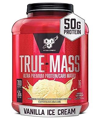 BSN TRUE-MASS Weight Gainer, Muscle Mass Gainer Protein Powder, Vanilla Ice Cream, 5.82 Pound