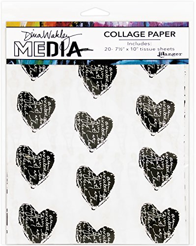 """Ranger 10 Printed/10 Plain Dina Wakley Media Tissue Pack 7.5""""X10"""" 20/Pkg"""