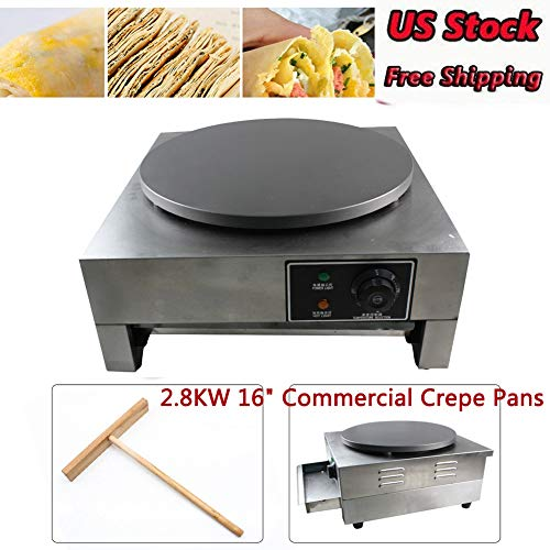 "Crepe Makers, 2.8KW 16"" Commercial Crepe Pans Electric Crepe Maker Aluminum Griddle Hot Plate Cooktop with Adjustable Temperature Control and LED Indicator Light Single Griddle Hot Plate Pancake Making Machine"