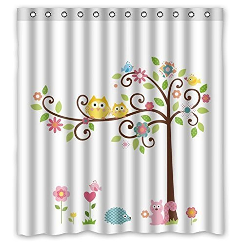 Crystal Emotion Valentines Day Bathroom Shower Curtains, Cute Owls Trees Shower Curtain Set with Hooks,Fabric Polyester Waterproof Bath Curtains,60x72inch