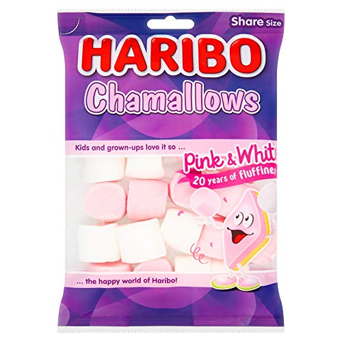 Haribo Pink and White Marshmallows, Chamallows Bulk Sweets, 140g, Pack of 12