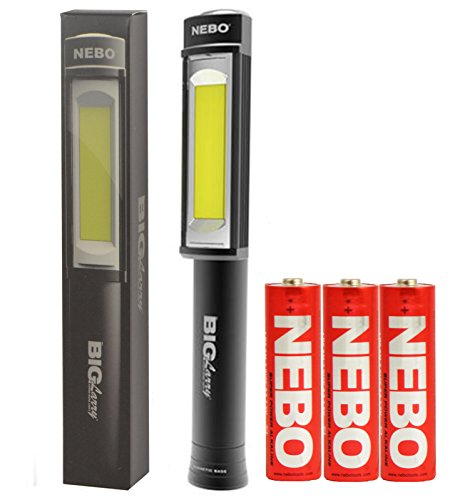 Nebo 6306 Big Larry 400 lm C-O-B LED Work Flashlight with 3 AA Batteries Included, Black