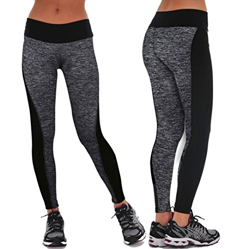 Gillberry Women Sports Trousers Athletic Gym Workout Fitness Yoga Leggings Pants (M, Gray)