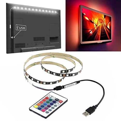 Kabel Leader (13FT/4M) 5V USB LED Strip 5050 RGB TV Background Lighting 60LEDs/m with 24Key IR Controll