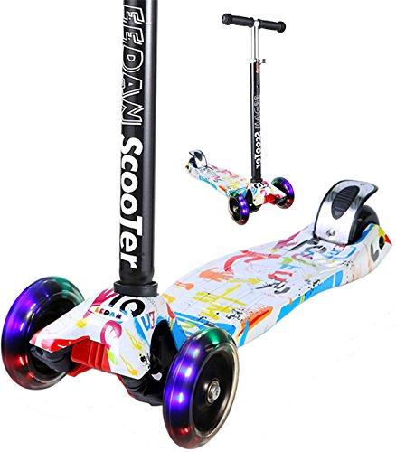EEDAN Scooter for Kids 3 Wheel T-bar Adjustable Height Handle Kick Scooters with Max Glider Deluxe PU Flashing Wheels Wide Deck for Children from 5 to 14 Year-Old (Grafitti)
