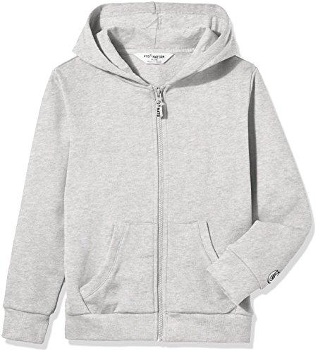 Kid Nation Kids' Solid Brushed Fleece Zip Hooded Sweatshirt in 8 Color S Gray 01