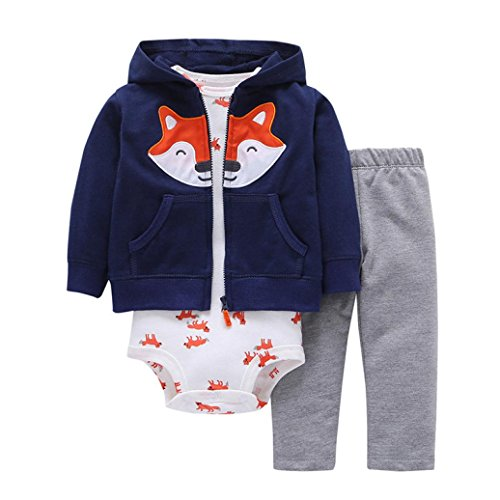 Vibola® Christmas Outfits Set Baby Girls Boys Fox Print thicker Hoodie Coat +Pants+Romper (Navy, Size:18M)