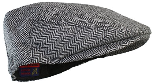 Ted and Jack - Street Easy Herringbone Driving Cap With Quilted Lining (Large/X-Large, Black and Light Gray)