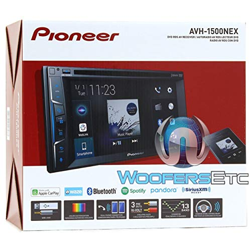 "Pioneer Multimedia Double-Din In-Dash 6.2"" WVGA Display DVD Receiver Apple CarPlay/Built-in Bluetooth/SiriusXM-Ready/AppRadio Mode/ Spotify & Pandora Bundled with Alphasonik Earbuds"