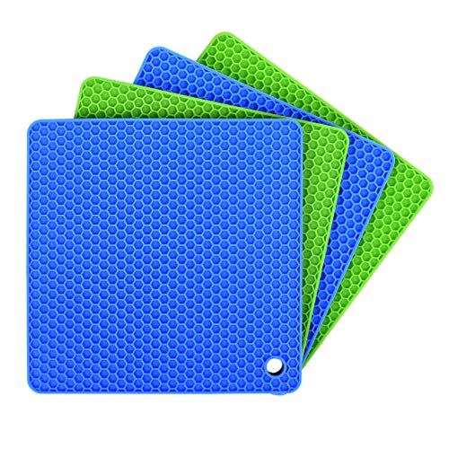 Silicone Pot Holders Set of 4 Ankway Silicone Trivets Multi-Purpose Hot Pads Heat Resistant to 450 °F, Non-slip Coasters, Insulation, Durable Flexible Trivet for Table Kitchen Countertop, Blue & Green